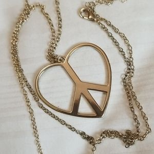 Jewelry - New Gold Heart Peace Sign Long Necklace